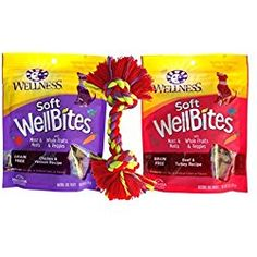 Wellness WellBites Soft & Chewy Treats For Good Dogs 2 Flavor Variety with Toy Bundle: WellBites Chicken & Venison Recipe, and WellBites Beef & Turkey Recipe, 6 Oz. Bags and Toy) Venison Recipes, Turkey Recipes, Chicken Recipes, Snack Recipes, Snacks, Natural Dog Treats, Pop Tarts, Grain Free, Toy