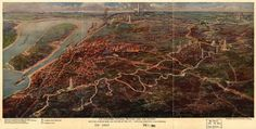 """""""The Vicksburg National Military Park and vicinity showing lines of siege and defense of the city."""" Poole Brothers, 1925. (Library of Congress)"""