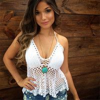 Beachy Crochet Halter Top