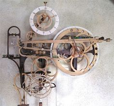 Woodworking Plans Wooden Gear Clock Plans from Hawaii by Clayton Boyer Wooden Gear Clock, Wooden Gears, Wood Clocks, Woodworking Plans, Woodworking Projects, Sketchup Woodworking, Woodworking Joints, Diy Wood Stain, Marble Machine