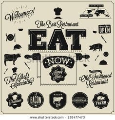 Set of Retro style restaurant menu design Calligraphic titles and symbols for restaurant Vector