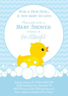 Cute Rubber Duckie Baby Shower Invitation - Printable. $16.00, via Etsy.