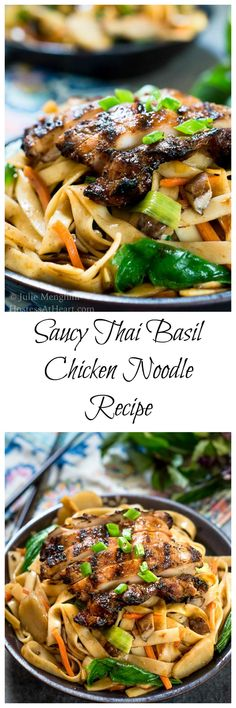 Saucy Thai Basil Chicken Noodle Bowl Recipe is a creamy blend of Asian flavors. It's a little bit sweet and spicy and a whole bunch delicious! | HostessAtHeart.com | easy thai basil | easy dinner recipes | chicken #healthyfood #maindish via @HostessAtHeart
