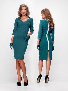 Платье темно-бирюзовое с контрастной отделкой - Enna Levoni - 335806