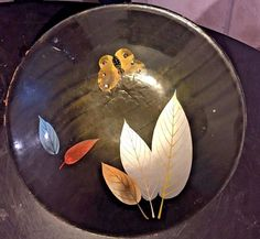 Vintage Enesco Black Bowl with Butterfly and Leaves Motif