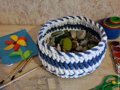 Корзинка из самодельной трикотажной пряжи - Ярмарка Мастеров - ручная работа, handmade