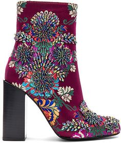 Jeffrey Campbell Beaded Stratford Bootie in Wine. - size 6 (also in 6.5,7,7.5,8 Embroidered textile upper with man made sole. Holographic beaded detail. Heel measures approx 4 H. JCAM-WZ799. STRATFORD J. Step into comfort and fashion this season with thes