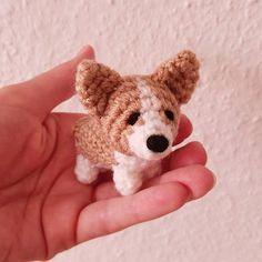 A little Corgi Kawaii Crochet, Cute Crochet, Crochet Motif, Crochet Crafts, Crochet Dolls, Yarn Crafts, Crochet Projects, Knit Crochet, Amigurumi Doll