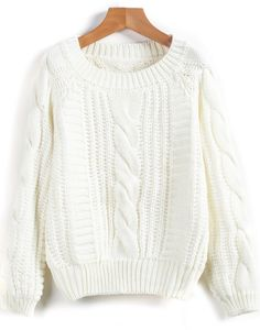 Shop White Long Sleeve Cable Knit Loose Sweater