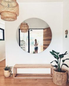 Love the giant mirror and the simple style