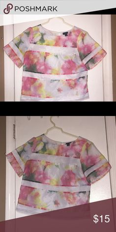 Worthington water color blouse Silky material. 100% polyester. Size is PS. Petite. Barely worn. Will include the skirt for $5 more Worthington Tops Blouses