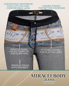 Miracle jeans with tummy panel, shown inside out.