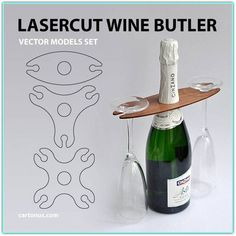 This functional, yet elegant Wine Butler makes carrying and serving your favorite wine and two/three/four glasses easy. Vector model in AI, EPS, PDF, CDR formats ready for laser cut. Set includes 3 models of Wine Butler – for 3 and 4 persons. Cool Wood Projects, Cnc Projects, Woodworking Projects, Projects To Try, Laser Cutter Ideas, Laser Cutter Projects, Laser Cut Wood, Laser Cutting, Wood Crafts