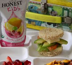 Cheese - LT Stacks:  - Organic Valley White Cheddar Cheese, Lettuce, Tomato, Avocado on Gluten Free Bread    Bunny Trail:  - Organic Trail Mix with Annie's Cheddar Bunnies    Berry Patch:  - Annie's Fruit Snacks mixed with Fresh Strawberries and Blueberries    Honest Tea Kid's Berry Berry Good Lemonade    -Lunch created by Lauren from Climbing Grier Mountain.