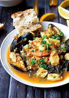 Seafood Stew in a Garlicy White Wine and Saffron Broth