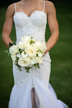 White and Green Bridal Bouquet  Photography: Kristen Weaver Photography Read More: http://www.insideweddings.com/weddings/a-rustic-elegant-summer-wedding-in-the-pennsylvania-countryside/657/