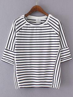 T-shirt décontracté à rayures demi-manche - blanc noir