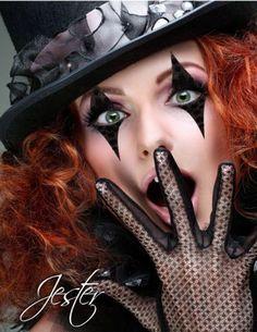 Jester Makeup, Jester Mask, Jester Costume, Circus Costume, Clown Makeup, Costume Makeup, Halloween Face Makeup, Black Eye Makeup, Female Clown