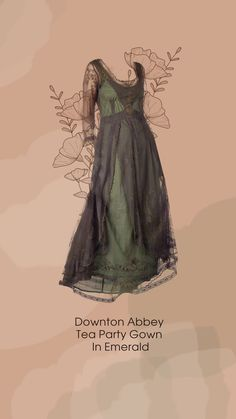 Downton Abbey: Downton Abbey is a British period drama set at the end of the Edwardian Era, the early 1900s. The show focuses on an aristocratic family during the reign of King George V. At this period of time, waistlines were raised to an empire fit. Embroidery was also very prevalent in designs. Layering the skirts of dresses with embroidered or lace fabrics also grew into fashion. Put together, these elements would make a dress that accurately represents the late Edwardian Era.