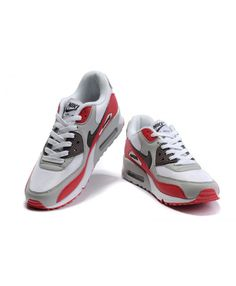 983b3c710dee Nike Air Max 90 Mens White Light Gray Red Running Shoes Sale UK