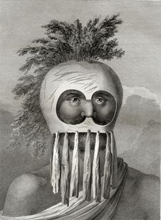 The rower's mask and arborial hair give this portrait of a native hawaiian a surreal look. The helmet, crafted from Gourds with holes for the eyes and nose, has fern crests poking out the top and beard like strips of tapa hanging from the chin. None of the masks have survived; Webber's drawings are our only record.