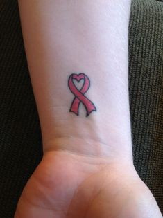 Breast cancer tattoo with a heart on the wrist