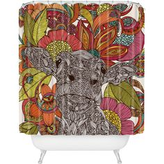 Valentina Ramos Arabella And The Flowers Shower Curtain.  I need a cow on my shower curtain.