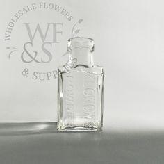 Tall Rectangular Glass Bottle - Wholesale Flowers and Supplies Small Glass Bottles, Glass Vase, Wholesale Flowers And Supplies, Flower Vases, Wedding Decorations, Perfume Bottles, Dj, Dream Wedding, Decor Ideas