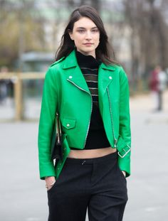 A green leather jacket adds an instant touch of chic to your daytime look. #fashion #green