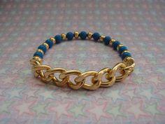 Bracelet - Deep Blue Beads & Gold Chain.