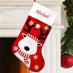 Add this delightful Snowman and Cardinal Embroidered Stocking to your Holiday decor this year. We will skillfully embroider these personalized Christmas stockings with any name in red threading. Christmas Stocking Decorations, Christmas Stocking Pattern, Christmas Sewing, Christmas Embroidery, Xmas Ornaments, Felt Christmas, Christmas Crafts, Reindeer Christmas, Rustic Christmas