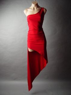 Red Jeweled Bead Sequin Asymmetric Ballroom Tango Salsa Evening Dance
