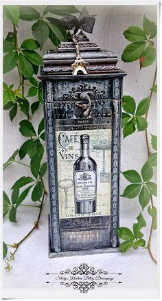 Nowe wcielenie pudełka na wino w paryskich klimatach - Cafe de Vins - Decoupage