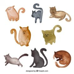 cats-collection-in-watercolor-style_23-2147505887.jpg (626×626)