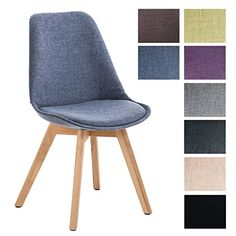 CLP Retro Design Chair BORNEO, Tweed, with natural coloured legs, choose between 8 different colours blue