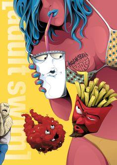 """Aqua Teen Hunger Force"" by Man-Tsun Aqua Teen Hunger Force, Cartoon Books, Cartoon Characters, Comic Books, Teen Art, Poster Series, Tv Series, Photoshop, Adult Cartoons"