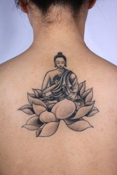 Black And Grey Buddha On Lotus Flower Tattoo Tattoo On Girl Upper Back
