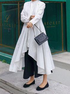 Urban White High-low Lace-up Blouse Dress – uoozee Modern Hijab Fashion, Street Hijab Fashion, Frock Fashion, Muslim Fashion, Kurta Patterns, Knit Vest Pattern, Disney Wedding Dresses, Stylish Dresses For Girls, Dress Indian Style