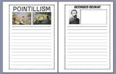 Georges Seurat and Pointillism FREE notebooking pages from notebookingfairy.com