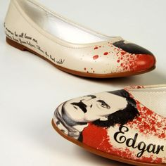 Edgar Allen Poe Ballerina flats / pumps shoes in cream with quotes, blood & faces. Edgar Allan Poe, Crazy Shoes, Me Too Shoes, Allen Poe, Chanel Ballet Flats, Ballerina Flats, Cool Outfits, Stylish, My Style
