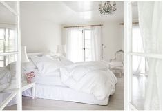 Even though she lives in a warm climate, Ashwell wanted her home to still feel cozy and romantic. Which is why there are multiple fireplaces and (most importantly) a heavenly all-white master bedroom. Shabby Chic Interiors, Shabby Chic Bedrooms, Shabby Chic Homes, Shabby Chic Style, Shabby Chic Decor, Rustic Decor, Home Bedroom, Bedroom Decor, Master Bedroom
