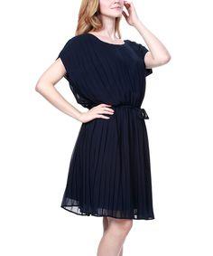 Look at this Zuri Zuri by Flora Navy Blue Chiffon Pleated Tie-Waist Dress on #zulily today!