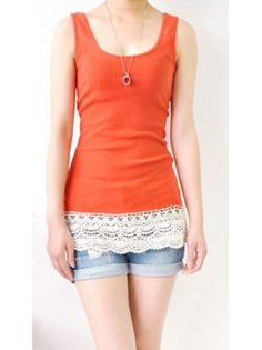 Crochet Tank.  I love the look of this.  Simple tank in a bright color with some interesting detail for summer.