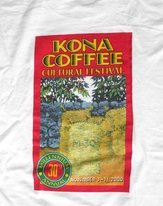 Hawaii Kona Coffee Cultural Festival 2000 T-shirt L New #HanesBeefy #TShirt