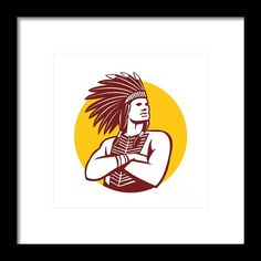 Native American Indian Chief Warrior Circle Retro Framed Print By Aloysius Patrimonio. Illustration of a native american indian chief wearing feather headdress with arms folded looking to the side viewed from front done in retro style set inside circle on isolated background. #illustration #NativeAmericanIndianChief