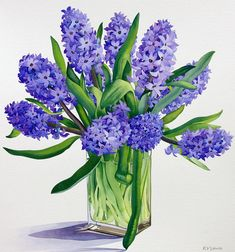 Blue Hyacinths Painting by Christopher Ryland