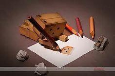 Danbo draws danbo on paper