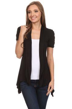 Short Sleeve Cardigan for Women Open Front Draped Flyaway Cardigan Sweater Reg & Plus