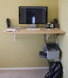 DIY standing desk as a floating shelf