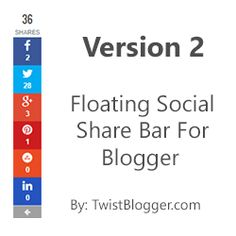 Floating Social Share Bar Widget For Blogger - Version 2